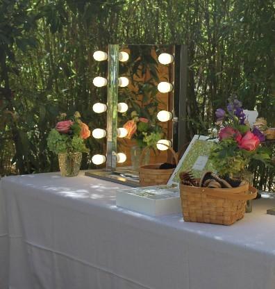 tocador en jardin para boda