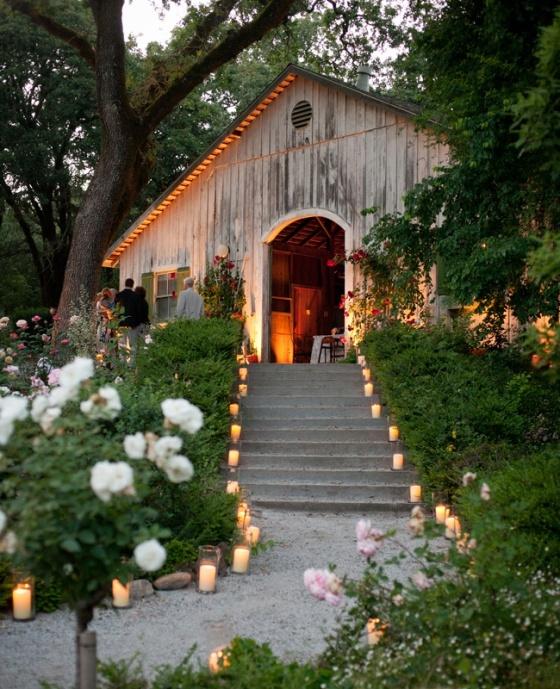 decoracion con velas para bodas al aire libre
