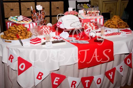 mesas temáticas de dulces bodas comuniones fiestas Lazos y Corbatas