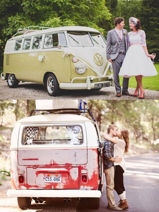 furgoneta vintage. plan romantico en furgoneta vintage